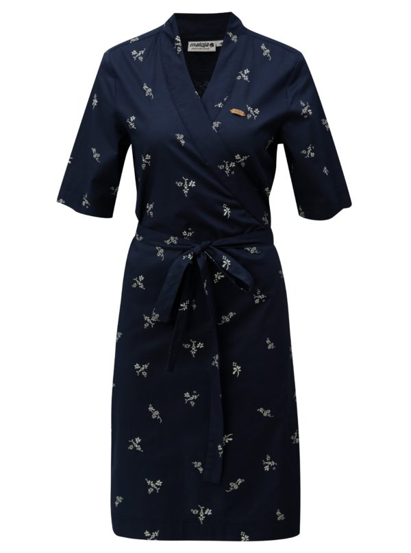 Tmavomodré zavinovacie šaty Maloja