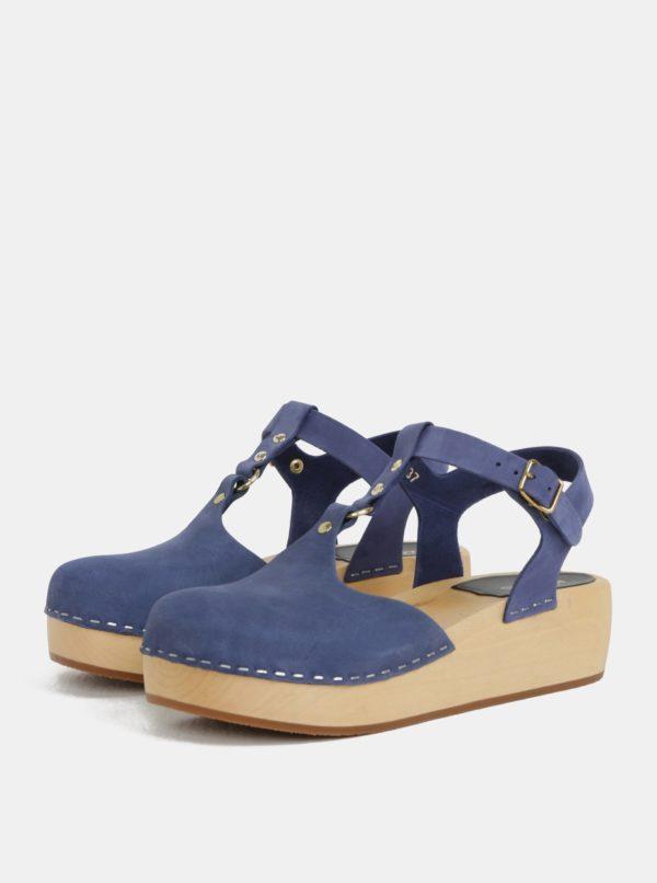 Dreváky na platforme s modrými koženými remienkami Swedish Hasbeens Ring Sandal