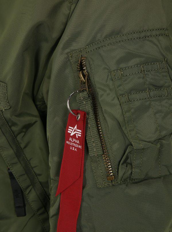 Kaki pánska bunda s vreckami ALPHA INDUSTRIES
