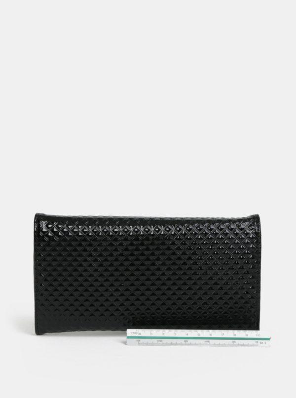 Čierna lesklá peňaženka s plastickým vzorom Anna Smith