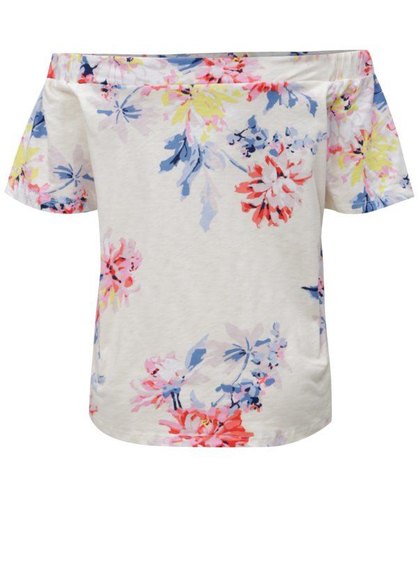 Krémové dámske kvetované tričko s odhalenými ramenami Tom Joule Yoona