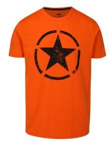 Oranžové pánske tričko s potlačou ALPHA INDUSTRIES