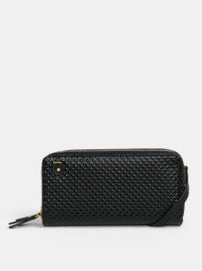 Čierna lesklá veľká peňaženka s plastickým vzorom Anna Smith