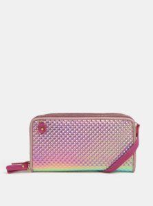 Tyrkysovo-ružová metalická veľká peňaženka s plastickým vzorom Anna Smith