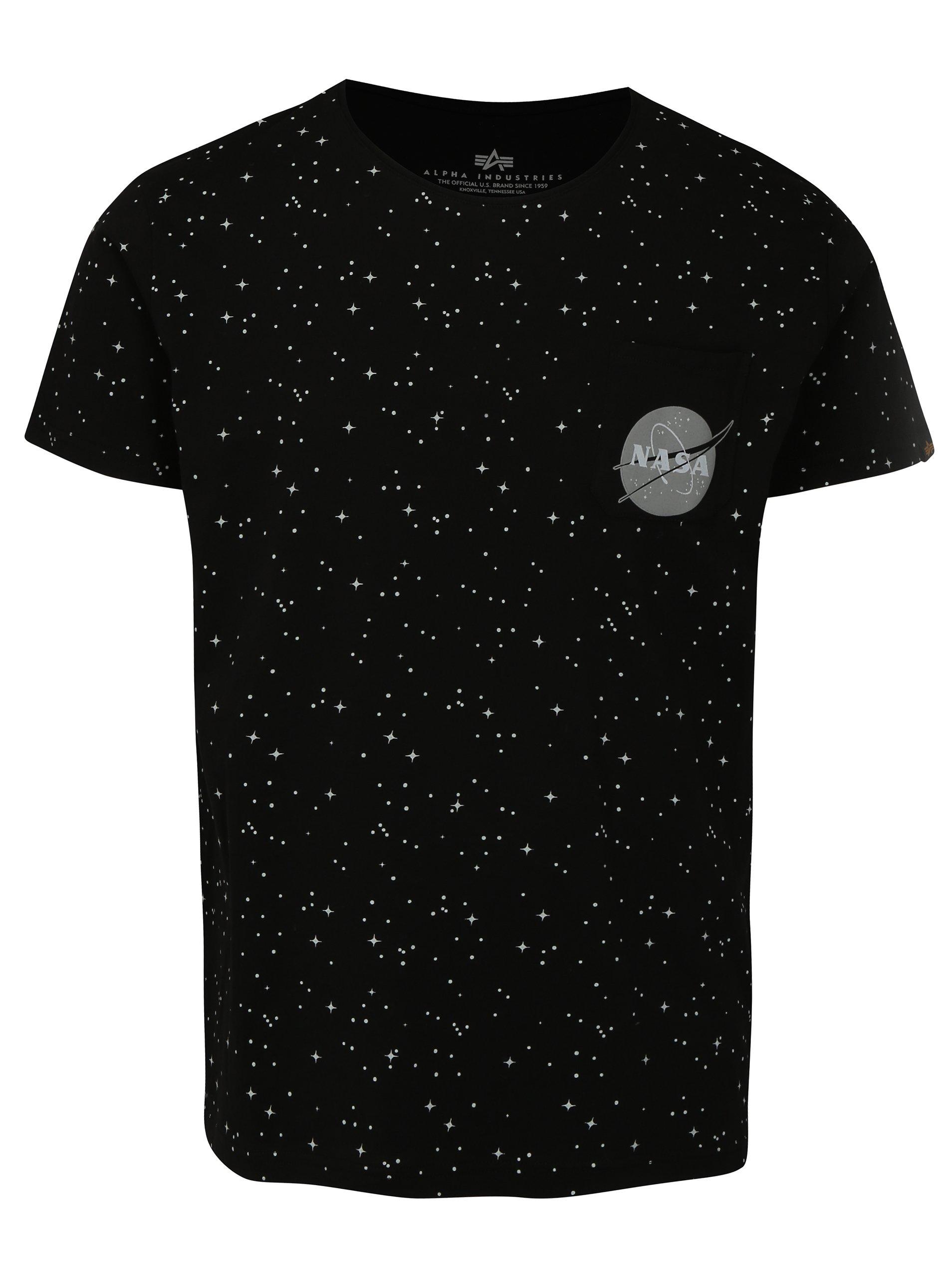 941bfd10566f Čierne pánske vzorované tričko ALPHA INDUSTRIES