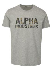 Sivé pánske tričko s potlačou ALPHA INDUSTRIES