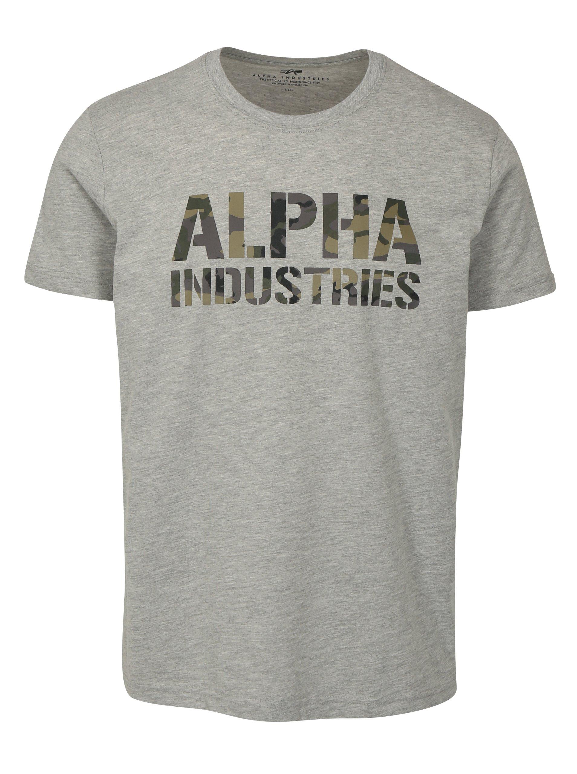 8acf150ff7db Sivé pánske tričko s potlačou ALPHA INDUSTRIES