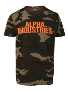 Tmavozelené pánske maskáčové tričko s potlačou ALPHA INDUSTRIES
