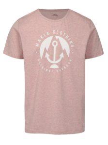 Svetloružové melírované tričko s potlačou Makia Harbour