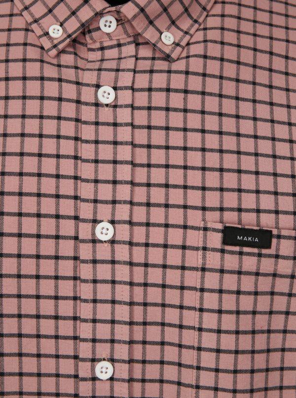Ružová kockovaná regular fit košeľa Makia Keeper