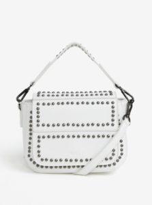 Biela malá kabelka s cvokmi v striebornej farbe Nalí