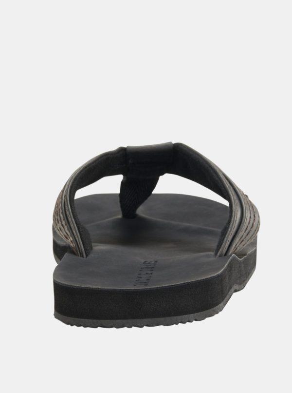 Čierne pánske kožené žabky Jack & Jones Bob