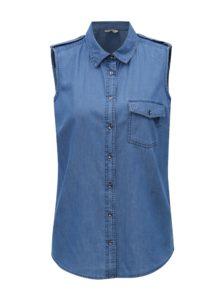 Modrá dámska rifľová košeľa bez rukávov M&Co