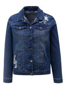Modrá dámska rifľová bunda s kvetovanou výšivkou M&Co