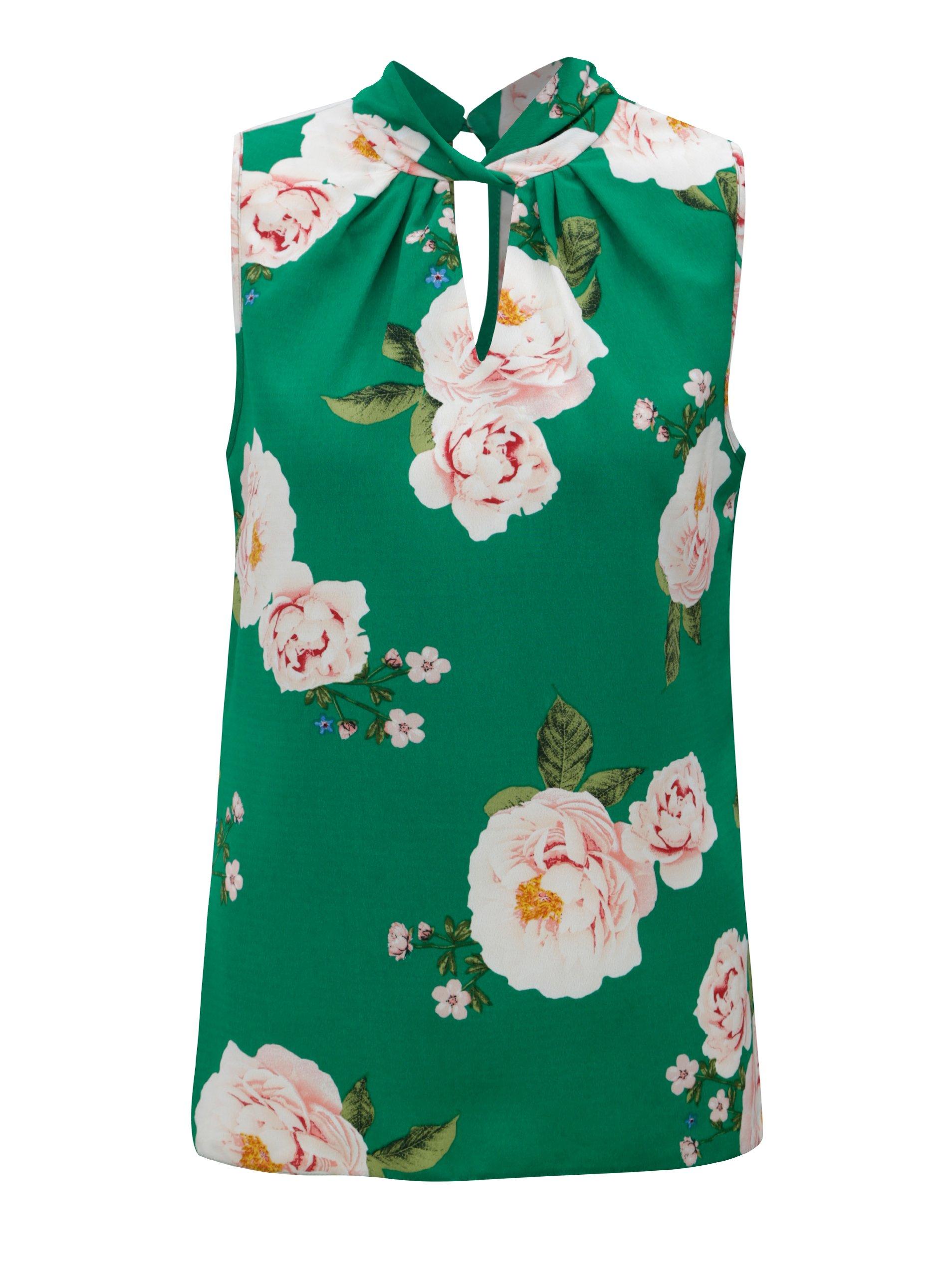 bf44e4a24138 Zelená kvetovaná blúzka bez rukávov Dorothy Perkins