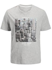 Sivé melírované regular fit tričko s potlačou Jack & Jones Feedercity