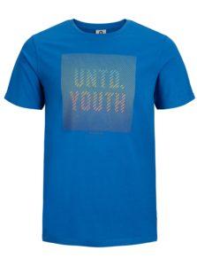 Modré slim fit tričko s potlačou Jack & Jones Flyn