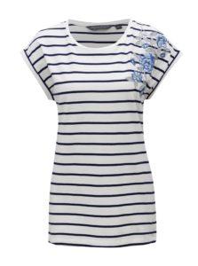Modro–biele pruhované tričko s výšivkou Dorothy Perkins Tall
