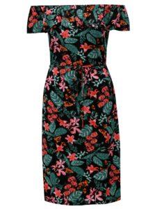 Čierne kvetované šaty s volánom a odhalenými ramenami M&Co