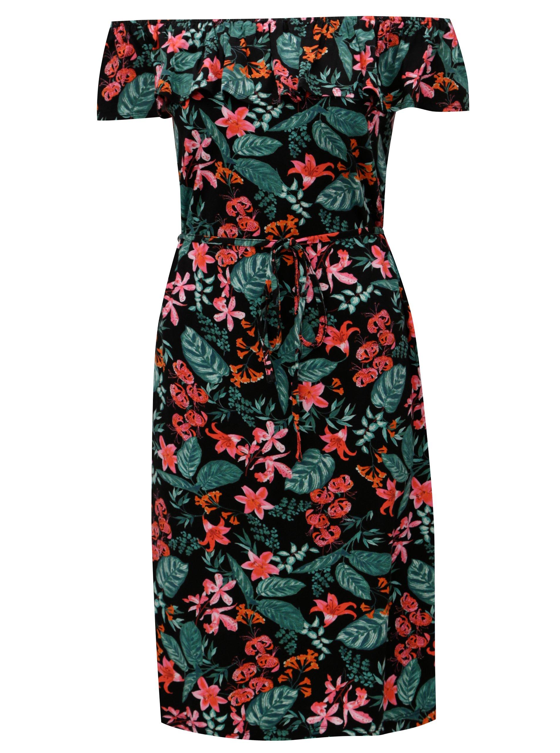 a401246da708 Čierne kvetované šaty s volánom a odhalenými ramenami M Co