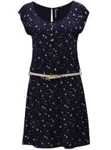 Tmavomodré dámske vzorované šaty Ragwear Zephie