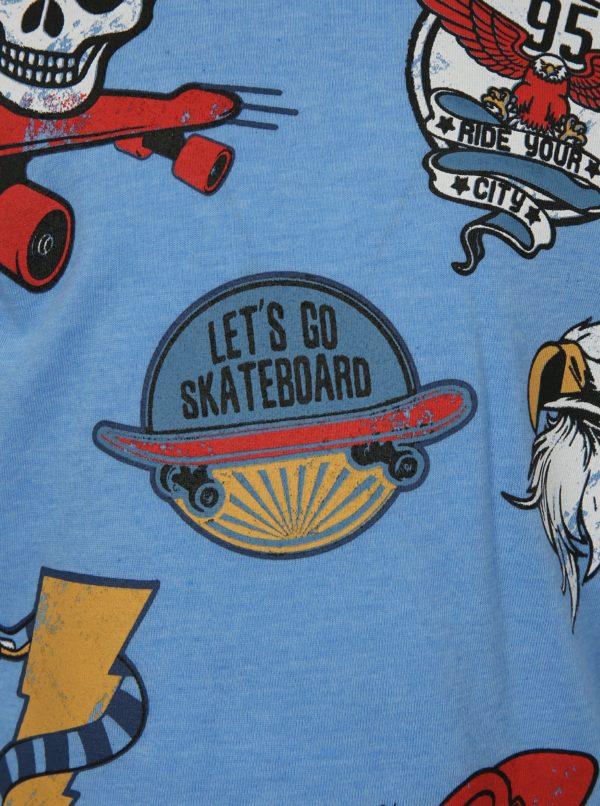 Svetlomodré chlapčenské tričko s motívom skateboardu Mix´n Match