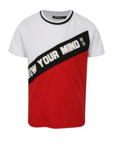 Červeno-biele chlapčenské tričko s potlačou Mix´n Match