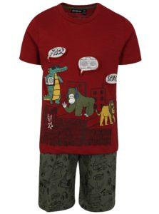 Kaki-červená chlapčenská vzorovaná súprava s kraťasmi a tričkom Mix´n Match