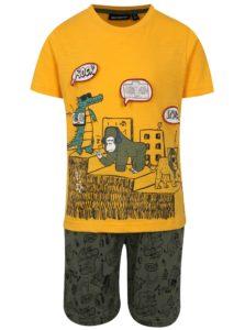 Kaki-žltá chlapčenská vzorovaná súprava s kraťasmi a tričkom Mix´n Match