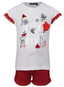 Červeno-biela dievčenská súprava kraťasov a trička s potlačou Mix´n Match