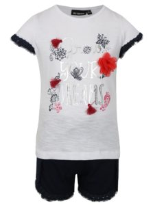 Modro-biela dievčenská súprava kraťasov a trička s potlačou Mix´n Match
