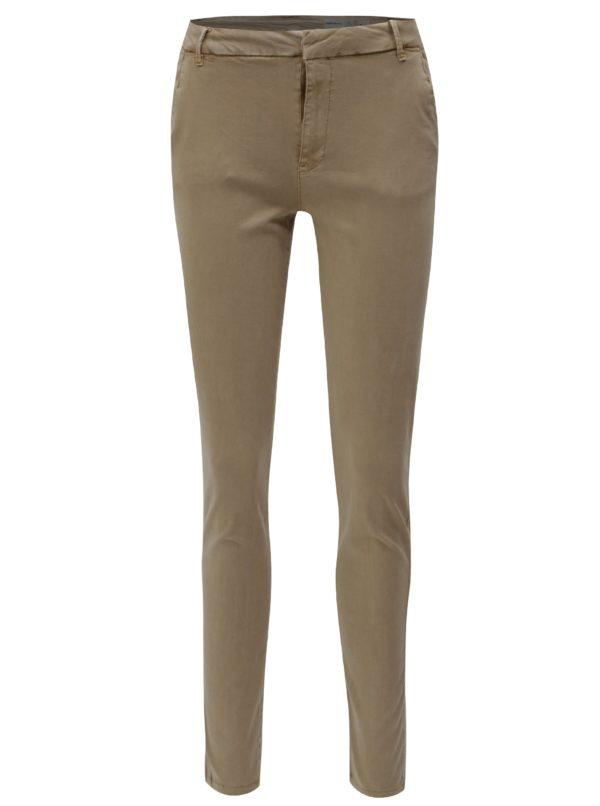 Béžové chino nohavice s nízkym pásom VERO MODA Flame