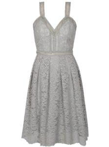 Sivé čipkované šaty Chi Chi London Leonine