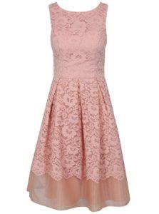 Ružové čipkované šaty Chi Chi London Maniel