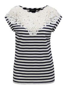 Modro-biele pruhované tričko s čipkou Dorothy Perkins