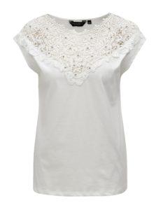 Krémové tričko s čipkou a korálikmi Dorothy Perkins
