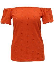 Oranžové tričko s odhalenými ramenami Dorothy Perkins