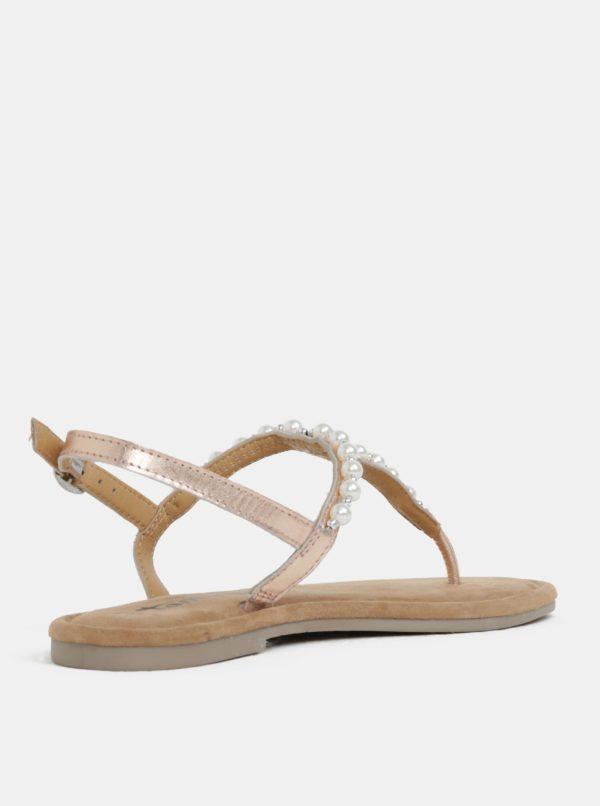 0df5f4710a Svetlorúžové metalické kožené sandále Tamaris