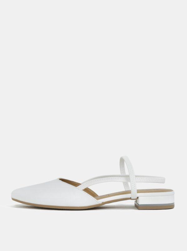 Biele kožené sandále s plnou špičkou Tamaris
