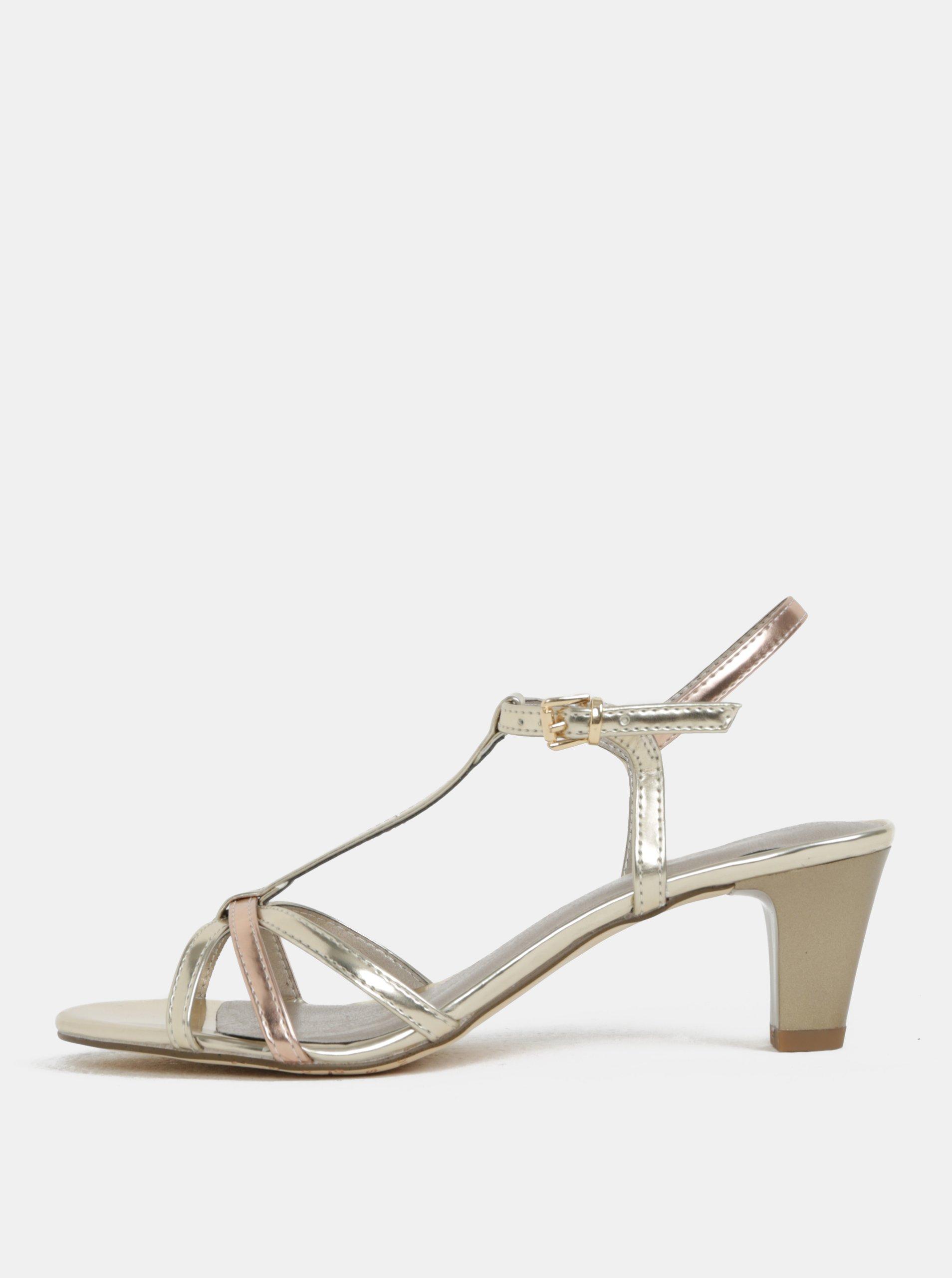 718fb531b1 Sandále v zlatej farbe na nízkom podpätku Tamaris