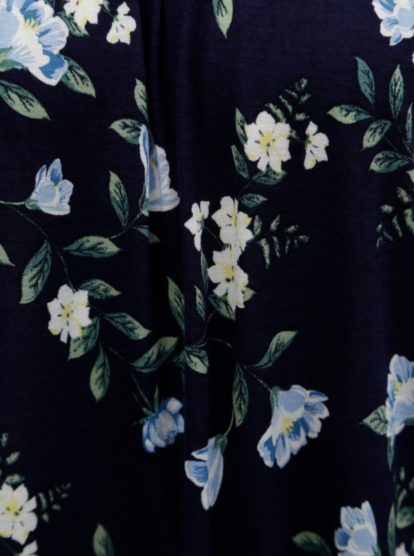 Tmavomodré kvetované oversize tričko s odhalenými ramenami Dorothy Perkins