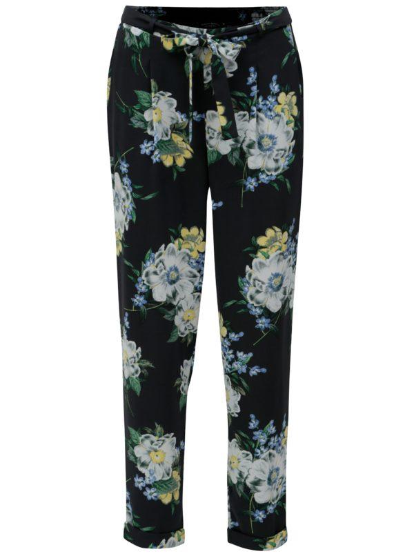 Tmavomodré kvetované nohavice s vysokým pásom Dorothy Perkins