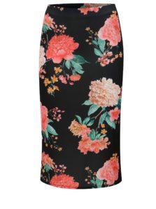 Čierna kvetovaná puzdrová sukňa Dorothy Perkins