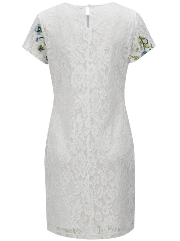 Biele kvetované čipkované šaty Dorothy Perkins Petite