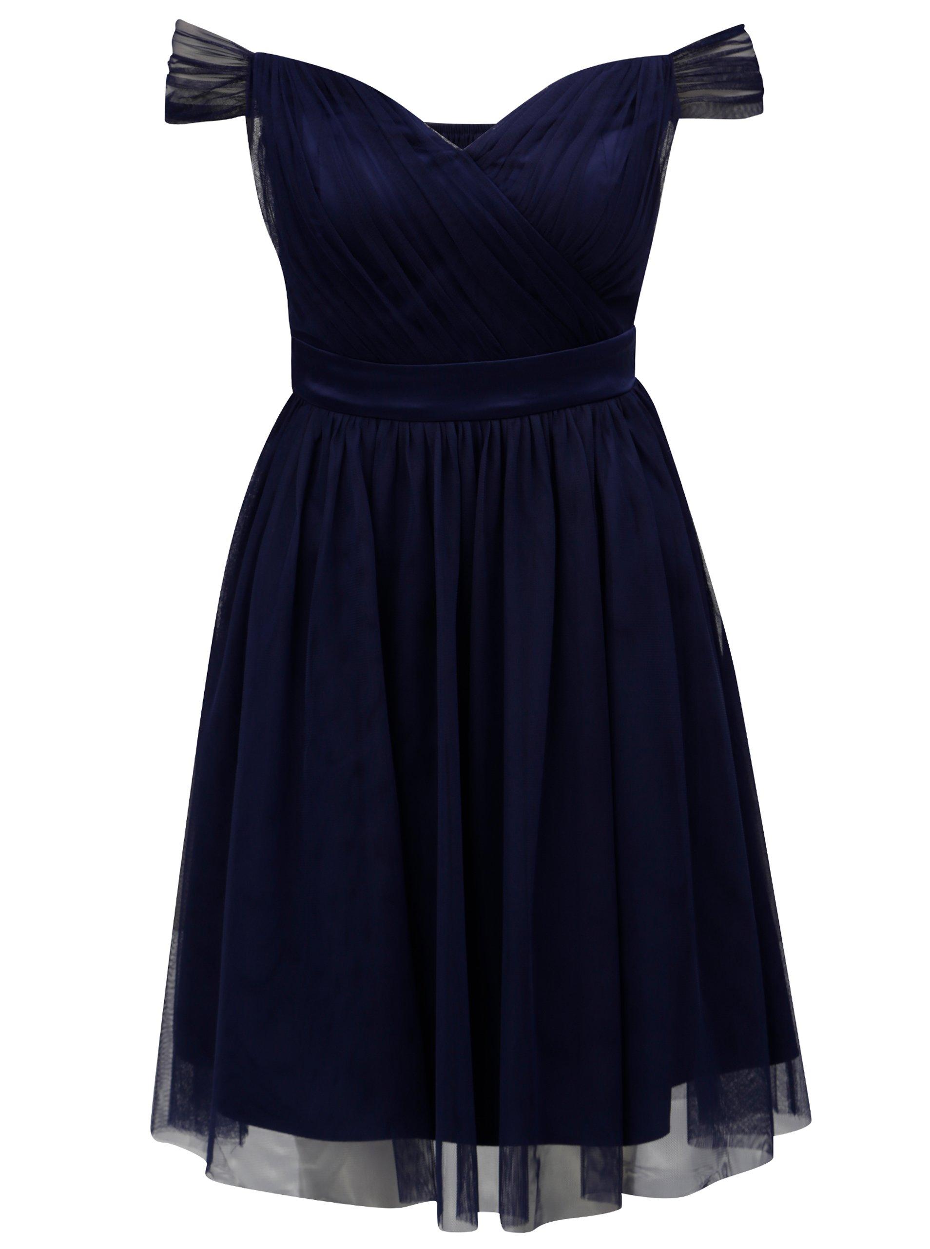 Tmavomodré tylové šaty s odhalenými ramenami Dorothy Perkins  f1048a372fa