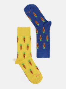 Modro-žlté unisex ponožky s motívom mrkvy Fusakle Mrkváč