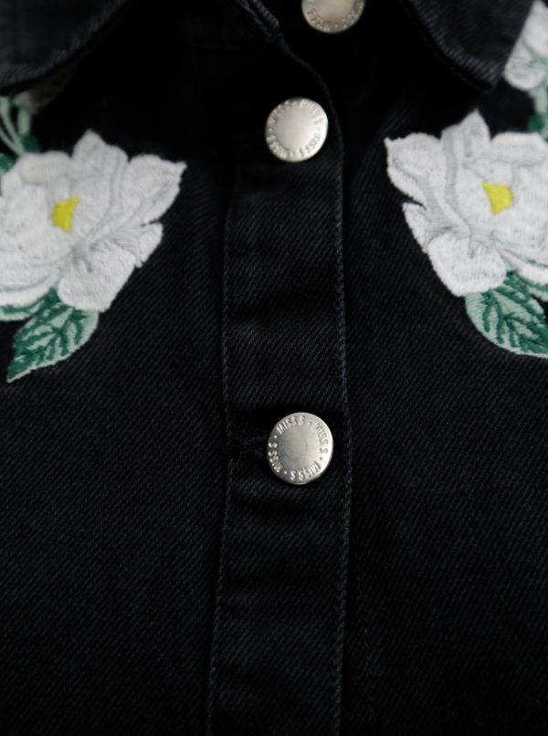 Čierne rifľové šaty s kvetovanou výšivkou Miss Selfridge  95efab96908