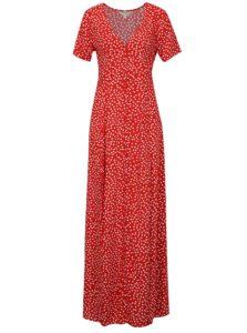 Bielo-červené bodkované maxišaty Miss Selfridge