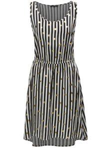 Čierno–biele pruhované šaty s potlačou ONLY Nova