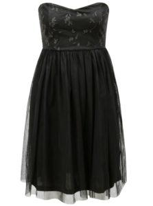 Čierne tylové šaty s prestrihom na chrbte ONLY Juhlia